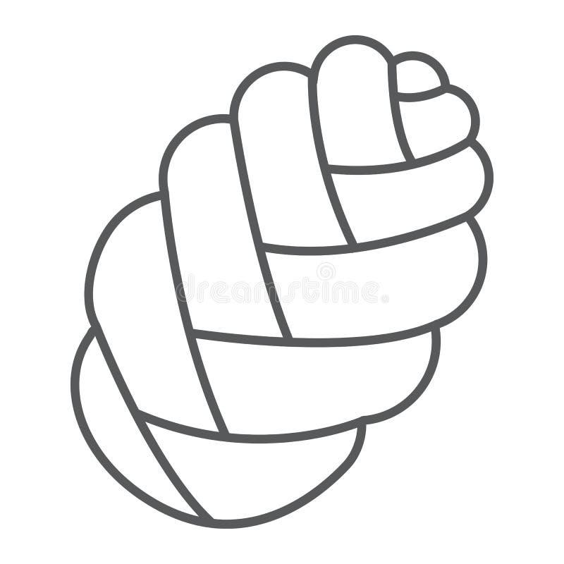 Bakar den tunna linjen symbol för challahen, och bagerit, det judiska brödtecknet, vektordiagram, en linjär modell på en vit bakg stock illustrationer