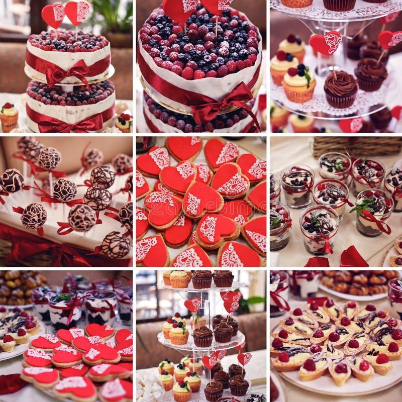 bakar ihop färgrik collage Efterrätttabell för ett parti Ombre kaka, c royaltyfri foto
