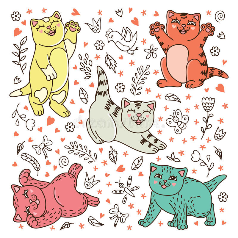 Bakcground with cute kittens. Vector bakcground with cute kittens royalty free illustration