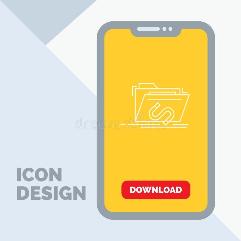 Bakdörr bedrift, mapp, internet, programvarulinje symbol i mobilen för nedladdningsida vektor illustrationer