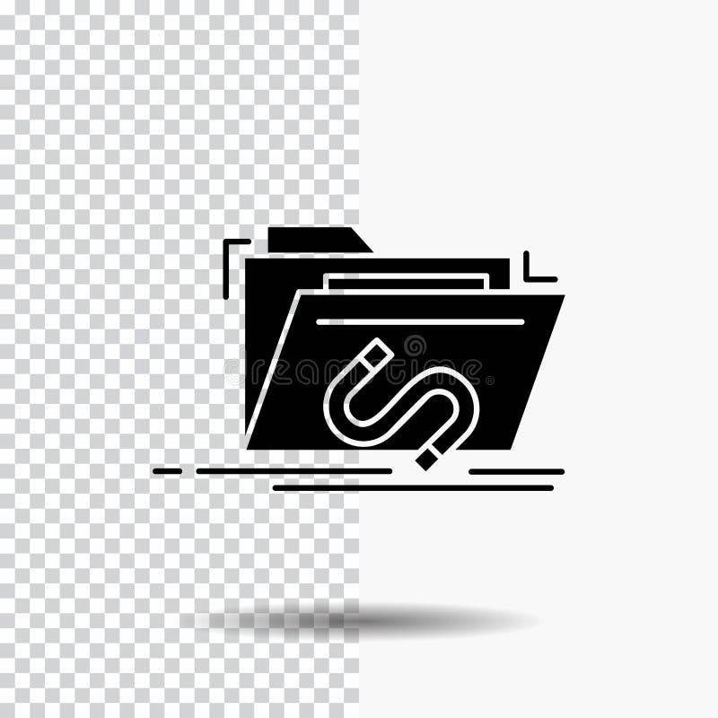 Bakdörr bedrift, mapp, internet, programvaruskårasymbol på genomskinlig bakgrund Svart symbol stock illustrationer