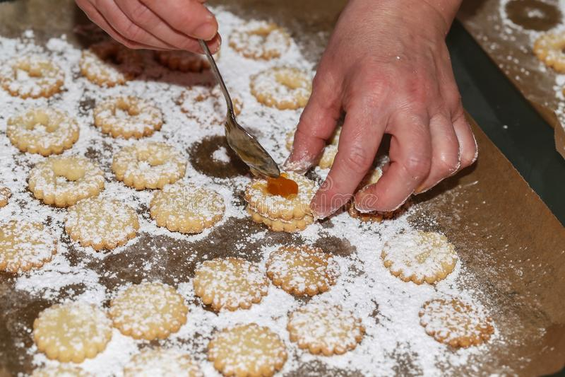 Bake cookies for Christmas. / Beautiful Christmas and New Years scene stock images