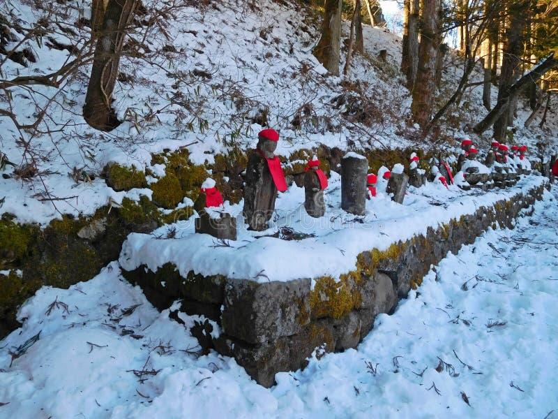 Bake-jizou by the Kanmangafuchi Abyss, Nikko, Japan. Bake-jizou by the Kanmangafuchi Abyss alongside the Daiwa River (Jizo Statues, guardian of children), Nikko stock images