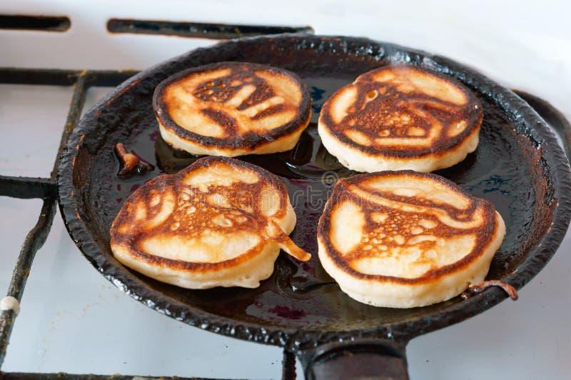 Bake pancakes, homemade cakes royalty free stock images