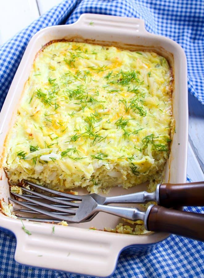 Bake. Pasta, zucchini and cheese bake stock photos