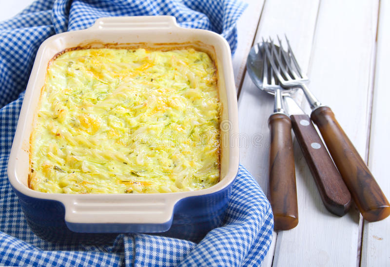 Bake. Pasta, zucchini and cheese bake stock photo