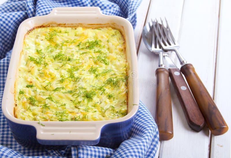 Bake. Pasta, zucchini and cheese bake stock image