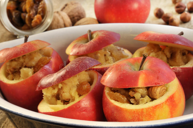Baked apple raw royalty free stock images