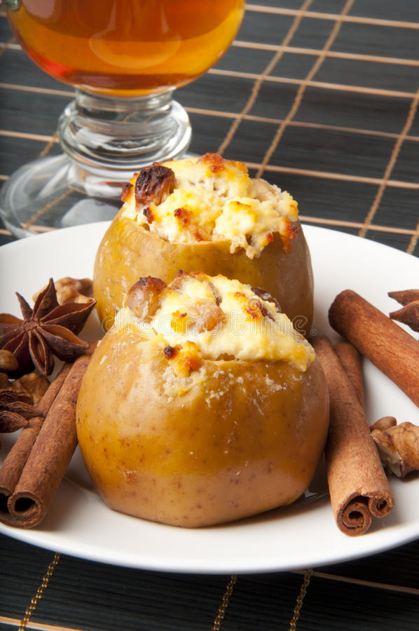 Baked apples with cottage cheese stock image