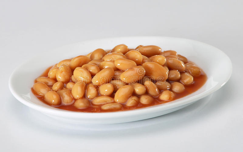 Baked Beans. A plate of baked beans isolated on white background