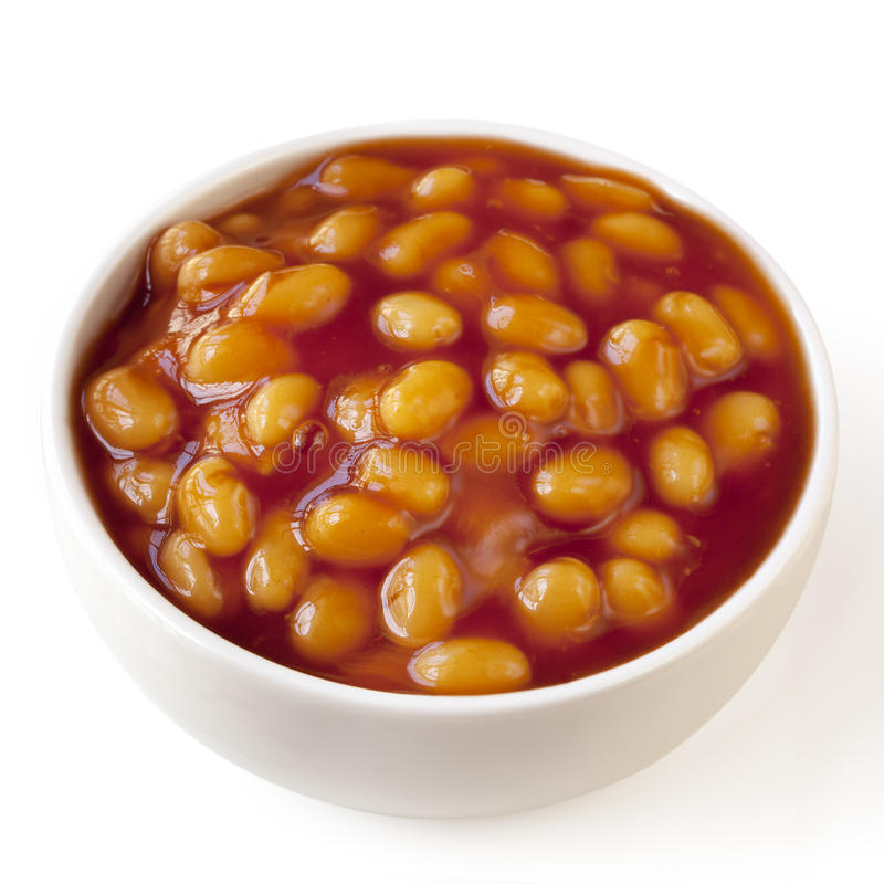 Baked Beans Isolated. Baked beans in a white bowl, isolated on white background stock photography