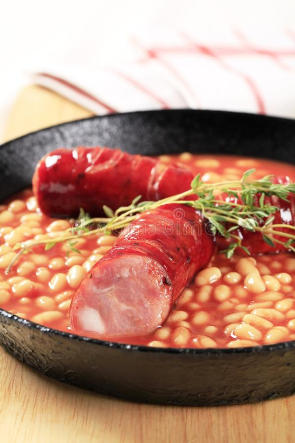 Baked beans and sausages royalty free stock photos