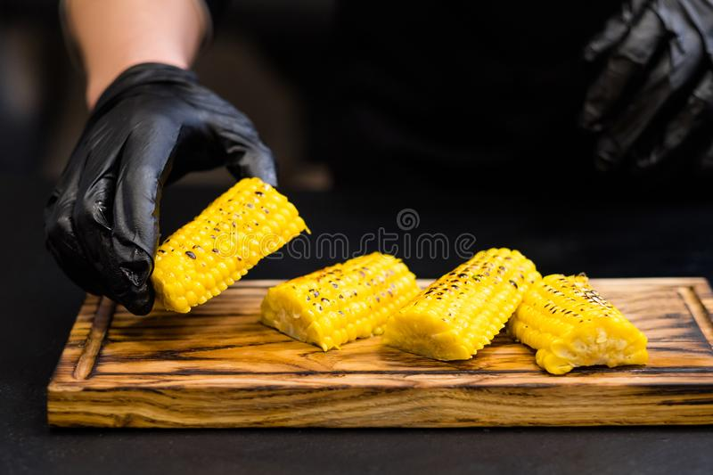 Baked bonduelle corn cob pieces melted butter royalty free stock image