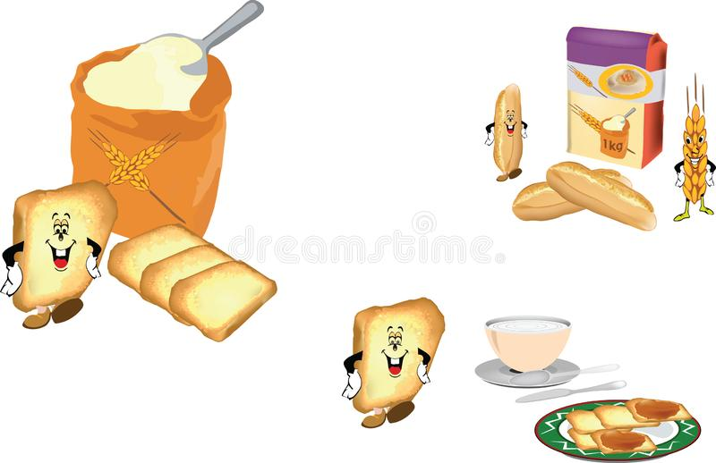 Baked bread flour and rusks royalty free illustration