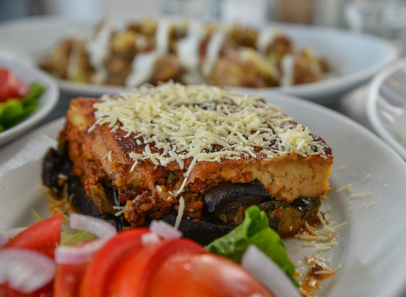 Baked cake with pork and cheese stock photo