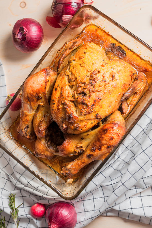 Baked chicken royalty free stock photos