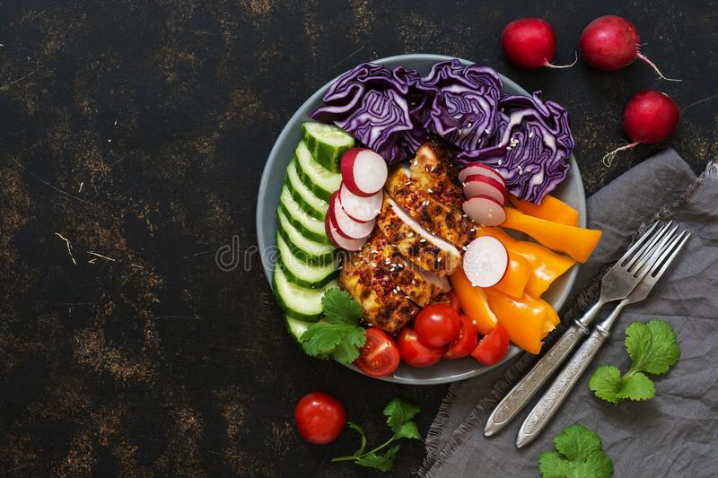 Baked chicken breast with fresh vegetables on a dark rustic background. The concept of healthy eating. The view from the top, plac royalty free stock photography
