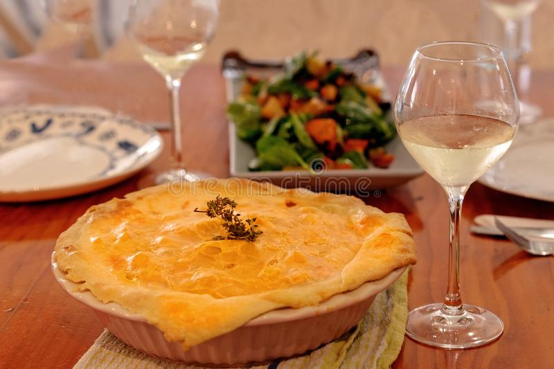 Baked Chicken Pie Fresh Out Of The Oven stock photography