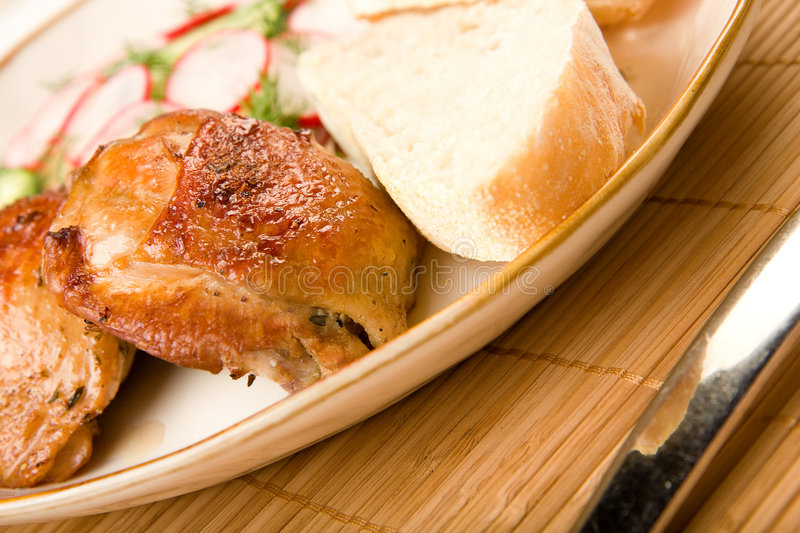 Baked Chicken Salad and Bread royalty free stock images
