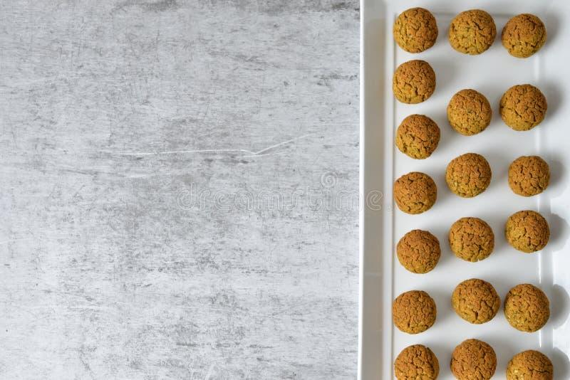 Baked chickpea falafel balls stock image