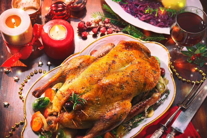 Baked Christmas duck stock photos