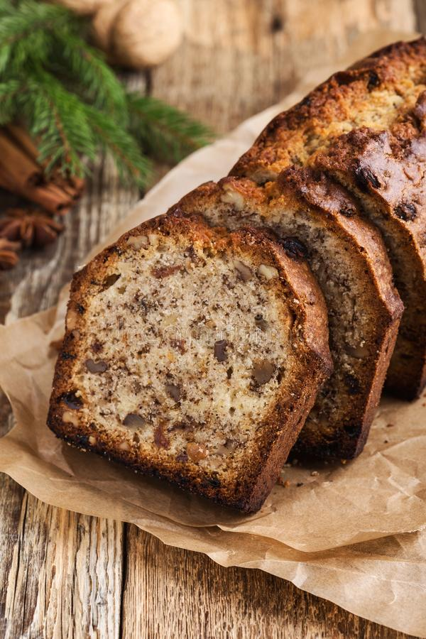 Baked Christmas loaf cake on wooden board stock photo