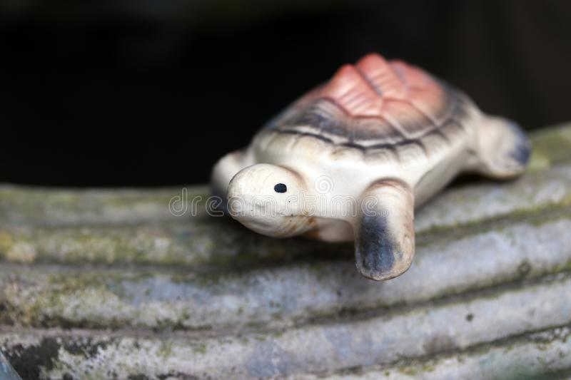 Baked clay of turtle put decorate on the edge of cement pot. Turtle pottery on the edge of pot and black background royalty free stock image