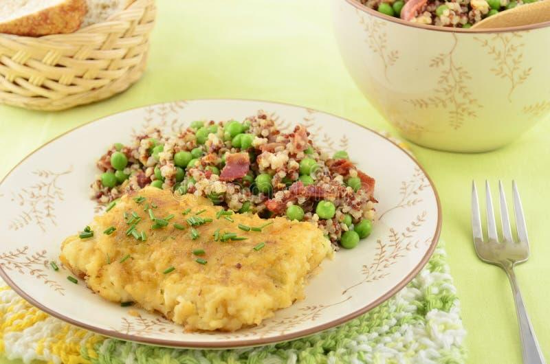 Baked Cod With Quinoa Salad Stock Photo