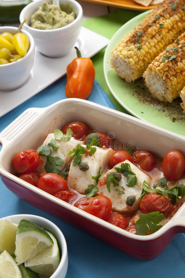Baked Cod With Tomatoes royalty free stock image