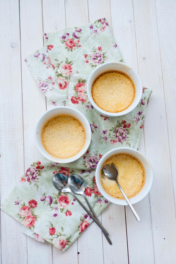 Baked cream dessert. With taste of lemon and cinnamon stock photography