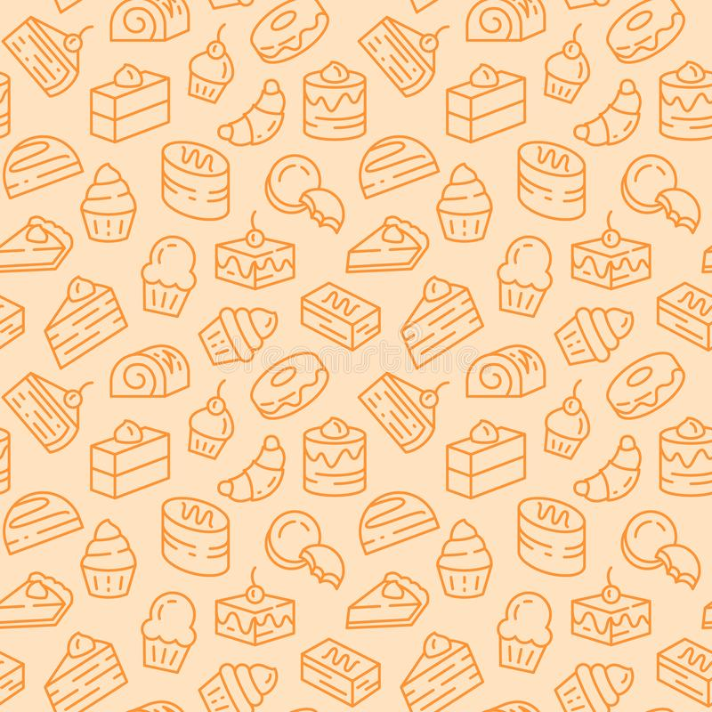Baked desserts related seamless pattern with cakes, biscuits and pie in line art with editable stroke. Vector illustration of background with outline sweet royalty free illustration