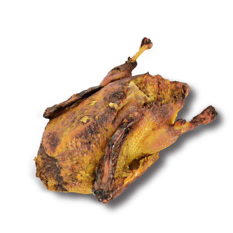 Baked duck on white background 3d render. Close-up royalty free illustration