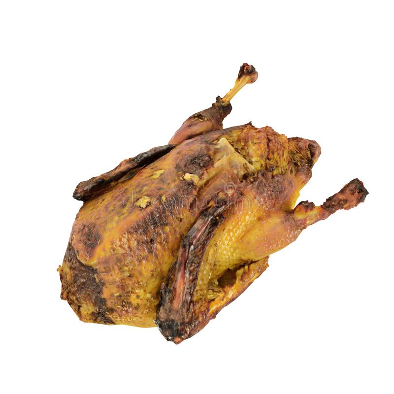 Baked duck on white background 3d render. Close-up on a white background royalty free illustration