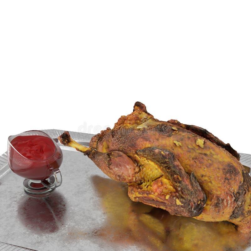 Baked duck on white background 3d render. Baked duck on white background 3d render close-up stock illustration