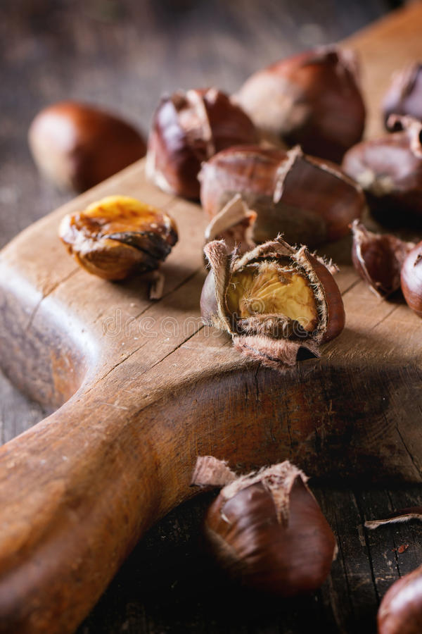 Baked edible chestnuts royalty free stock photography