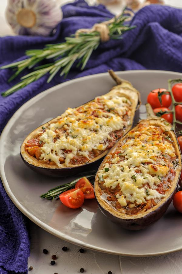 Baked eggplants stock images