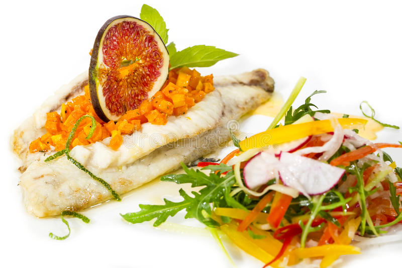 Baked Fish With Salad Stock Photo