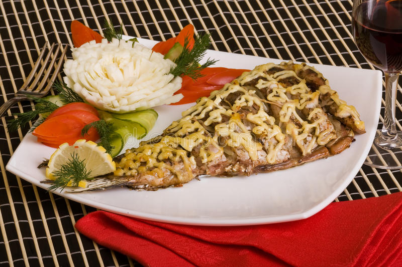 Download Baked fish served stock image. Image of tasty, delicious - 11735405