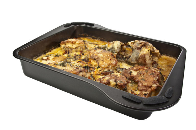 Baked food on the tray royalty free stock image