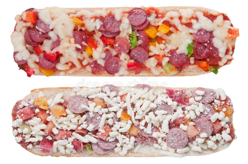Baked and frozen pizza baguette stock image
