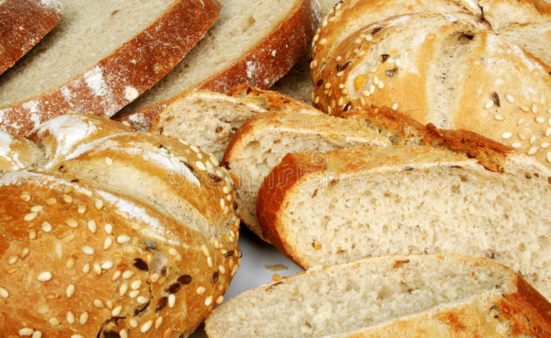 Baked goods. Healthy breakfast - rolls and bread stock photos