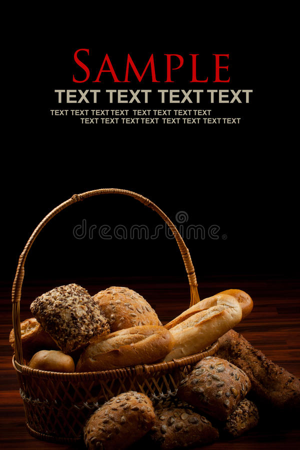 Baked goods. Assortment of baked goods in black background royalty free stock photos