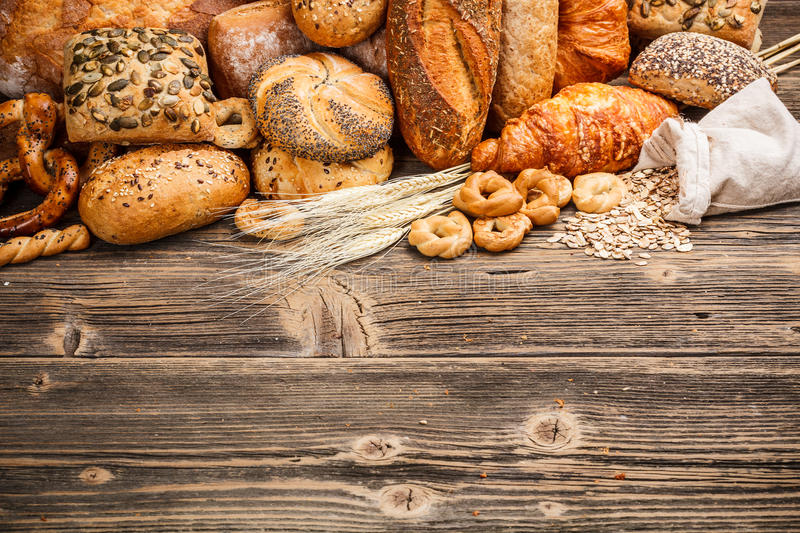 Baked goods. Assortment of baked goods with space for text stock image