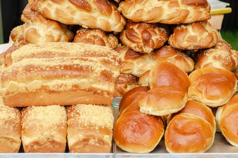 Baked goods and bread. In street market royalty free stock images