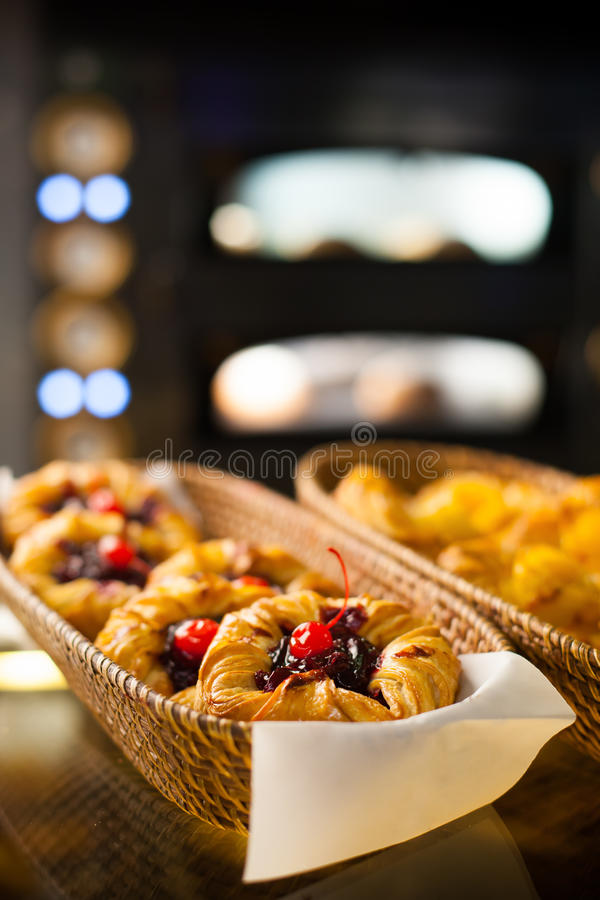 Baked goods. Fresh baked goods in the bakery royalty free stock photos