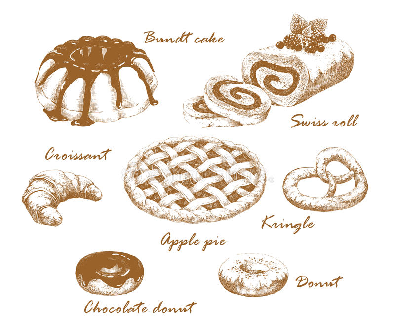 Baked goods. Set of hand-drawn graphic pastries. Roll, bundt cake, donut, croissant and kringle. Retro style. Vector and raster versions vector illustration