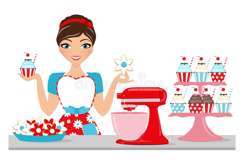 Baked goods woman stock illustration