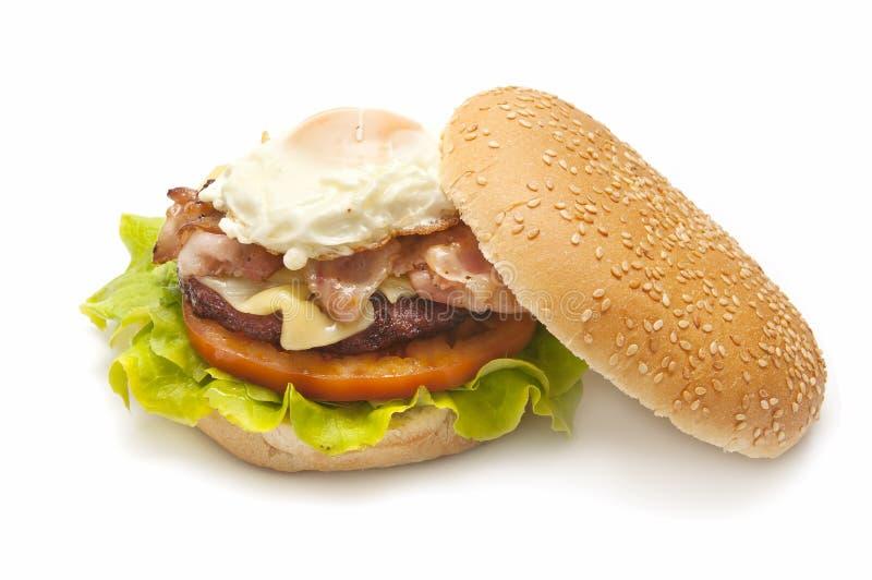 Baked hamburger stock images
