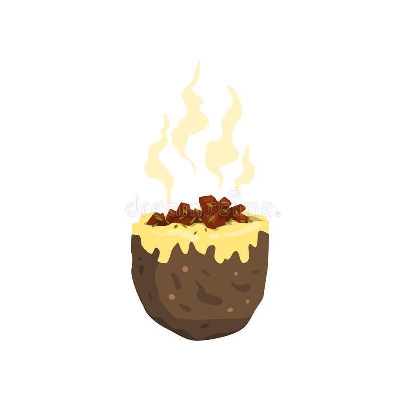 Baked jacket potato, tasty delicious hot fast food vector Illustration on a white background. Baked jacket potato, tasty delicious hot fast food vector royalty free illustration
