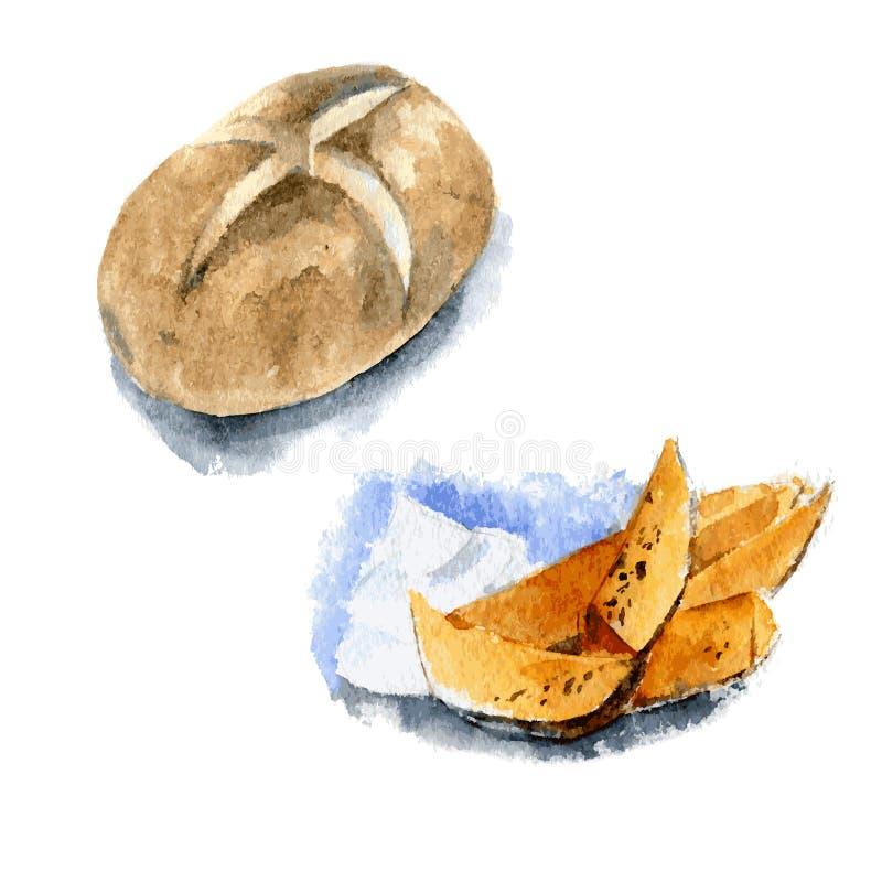 Baked jacket potatoes. Hand drawn watercolor illustration. Isolated. Vector. Baked jacket potatoes. Hand drawn watercolor illustration Isolated vector illustration